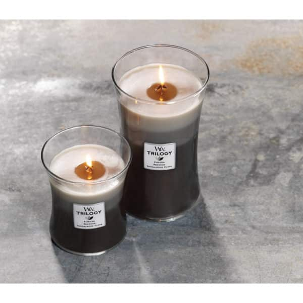 WoodWick Candles Warm Woods - Candele Trilogy Formato Grande - Candlestore.eu