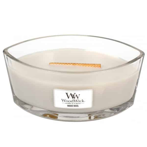 Warm Wool - Candela Heartwick WoodWick Candles - Candlestore.eu