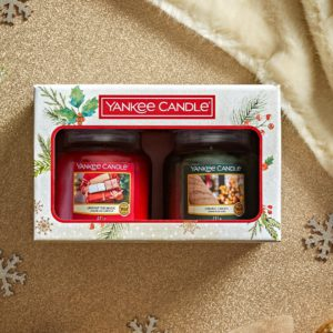 2 Candele In Giara Media - Confezione Regalo Natale Yankee Candle
