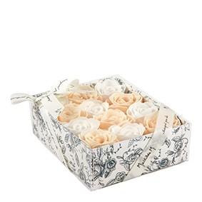 Confezione 12 Rose Di Sapone Profumate Colore Nude e Bianche Mathilde M - Candlestore.eu