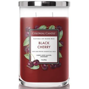 Colonial Candle Black Cherry - Candela Profumata Grande 538gr 2 Stoppini Classic Cilinder - Candle Store