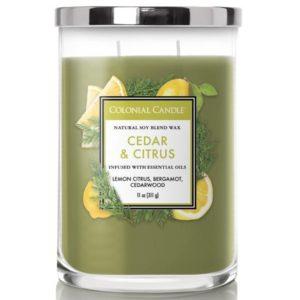 Colonial Candle Cedar & Citrus - Candela Profumata Media 311gr 2 Stoppini Classic Cilinder - Candle Store