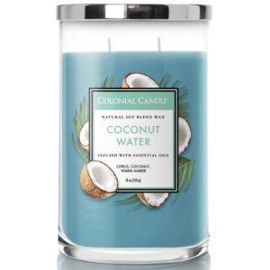 Colonial Candle Coconut Water - Candela Profumata Grande 538gr 2 Stoppini Classic Cilinder -