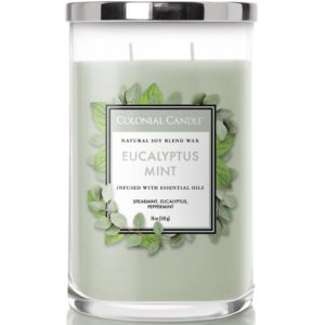 Colonial Candle Eucalyptus Mint - - Candela Profumata Grande 538gr 2 Stoppini Classic Cilinder - Candle Store